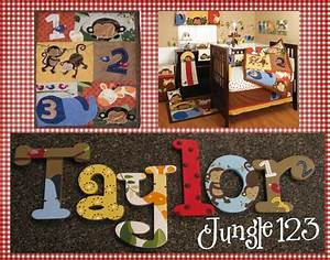 kidsline jungle 123 nursery wall decor letters baby With jungle letters for baby room
