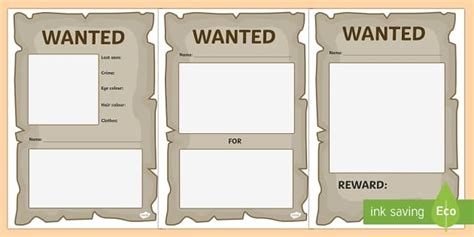 wanted poster template primary resources twinkl