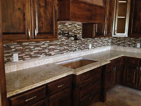 Kitchen Backsplash Ideas With Granite Countertops by Glass Tile Backsplash Santa Cecilia Granite
