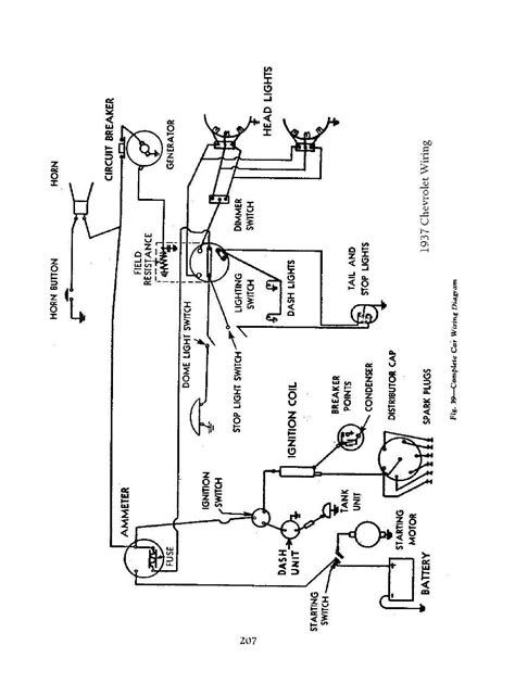 Wiring Diagram For A 1937 Chevy Truck by 1937 Chevrolet Wiring Diagram Wiring Library