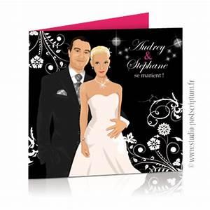 Dessin Couple Mariage Noir Et Blanc : faire part de mariage original baroque noir et blanc et ~ Melissatoandfro.com Idées de Décoration