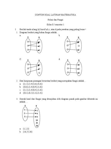 Relasi dan fungsi merupakan materi dalam ilmu matematika yang dipelajari ketika berada dibangku sekolah tingkat menengah atas. 8.2. Contoh Soal Latihan Matematika Relasi Dan Fungsi ...