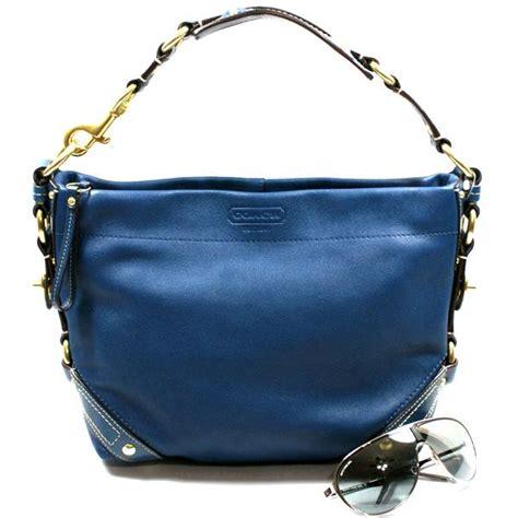 coach carly blue leather shoulder bag  coach