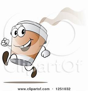 Clipart of a Happy Hot to Go Coffee Cup Character Running ...