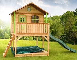 holz kinderspielhaus auf stelzen sandkasten garten With französischer balkon mit kinder garten spielhaus