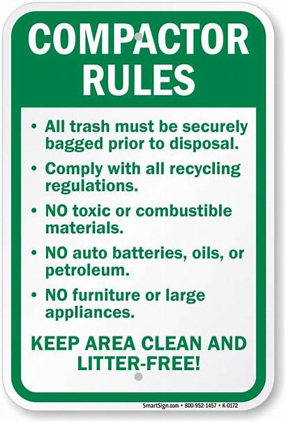 Rules Compactor Sign Trash Signs Safety Disposal