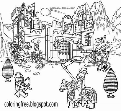 Coloring Pages Castle Printable Drawing Lego Medieval