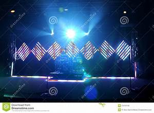 Music stage with flood and led lights stock photo image