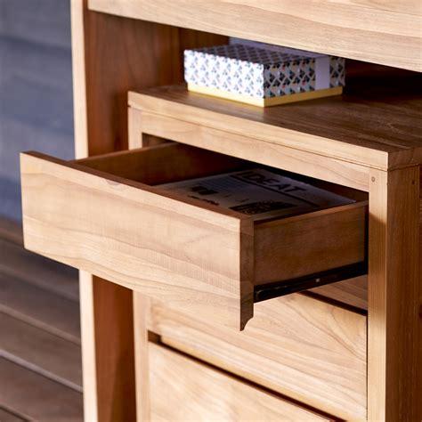 bureau teck bureau en teck meuble informatique avec caisson pc