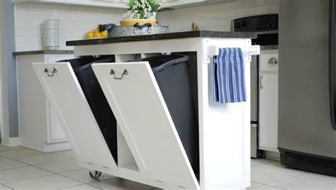 Small Kitchen Carts On Wheels With Garbage White Cart Bin