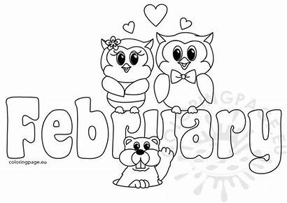 February Coloring Pages Month Clipart Text Printable