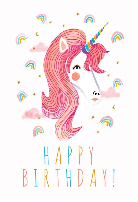 unicorn rainbows birthday card   island