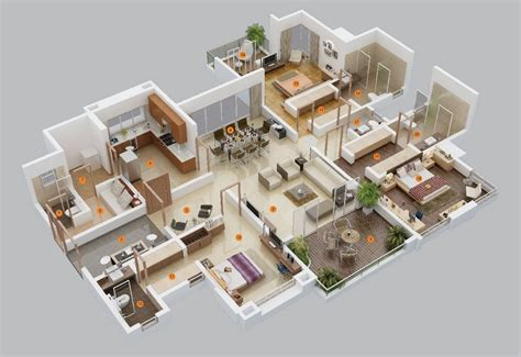 3 Bedroom Floor Plan In 3d by 3 Bedroom Apartment House Plans