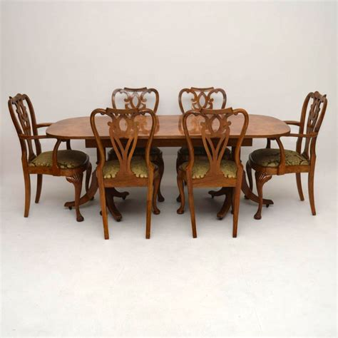 antique burr maple walnut dining table plus 6 chairs