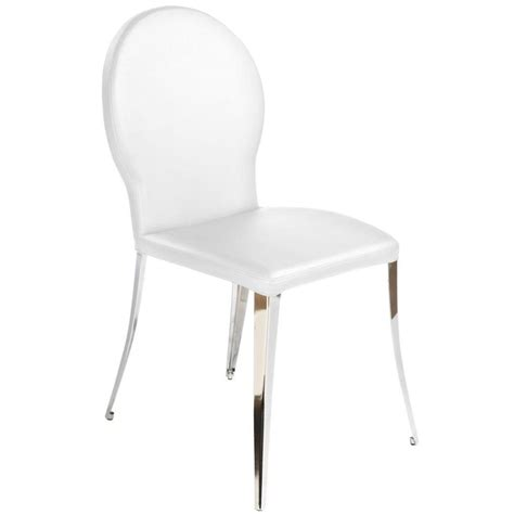 farid dining chair white fabric chrome dining chairs