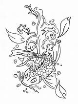 Koi Fish Coloring Printable Adults Japanese Colouring Pond Drawings Mermaid Realistic Pagesfree Visit Designlooter Paper Draw sketch template