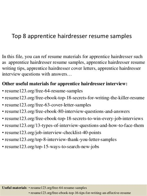 top 8 apprentice hairdresser resume sles