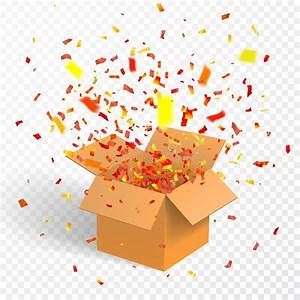 Open Box With Confetti  Cardboard  Vector Container Stock