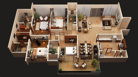 50 Four ?4? Bedroom Apartment/House Plans   Architecture