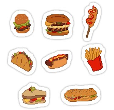 stickers protection cuisine quot pixel junk food stickers 1 quot stickers by siins redbubble