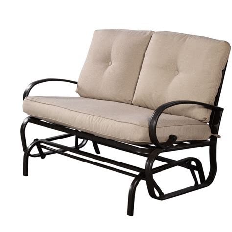 Metal Outdoor Loveseat by Outdoor Loveseat Glider Patio Rocking Bench Cushioned Seat