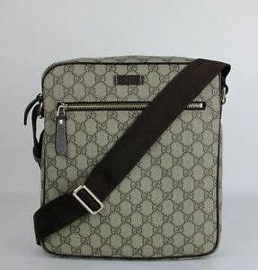 gucci mens beigeebony gg coated canvas shoulder bag  fcigg  ebay
