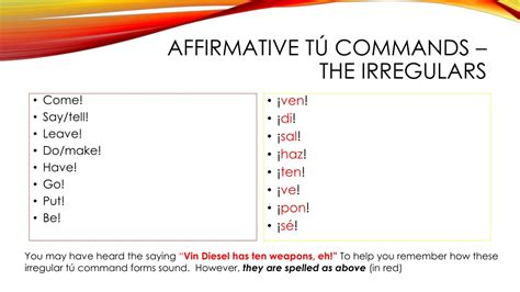 Mark sinclair (born july 18, 1967), known professionally as vin diesel, is an american actor and filmmaker. PPT - Review of Affirmative tú commands PowerPoint ...