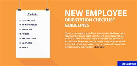 employee orientation checklist templates word