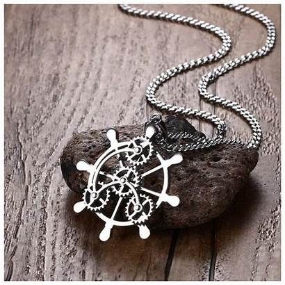 Mechanical Pendant Necklace Stainless Antique Steel Rudder