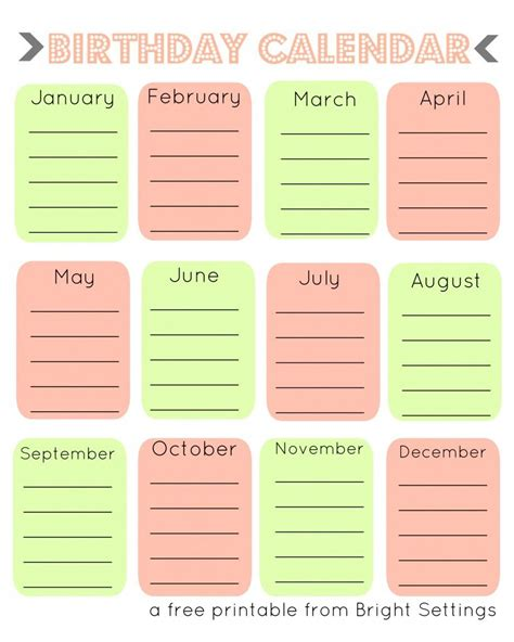 printable birthday calendar  perpetual calendar
