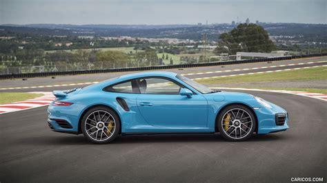 miami blue porsche turbo s 2016 porsche 911 turbo s coupe color miami blue side