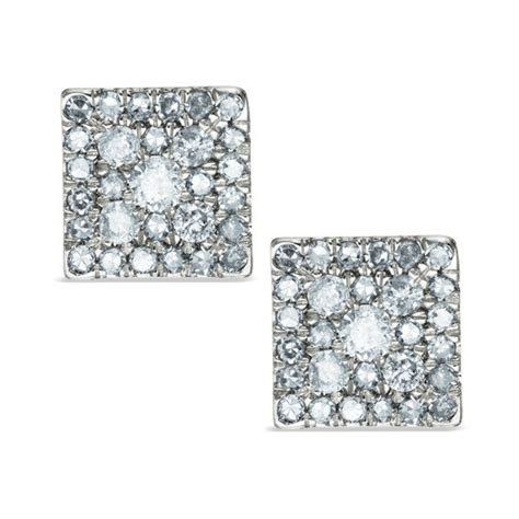 ct tw diamond square cluster stud earrings