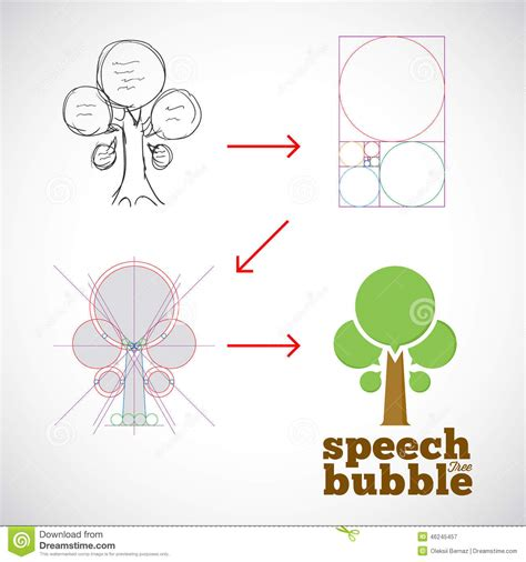 the golden ratio sketch template speech bubble tree abstract vector logo template stock