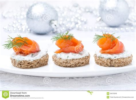 rye bread canapes canape with rye bread cheese salmon for royalty free stock image image 34679046