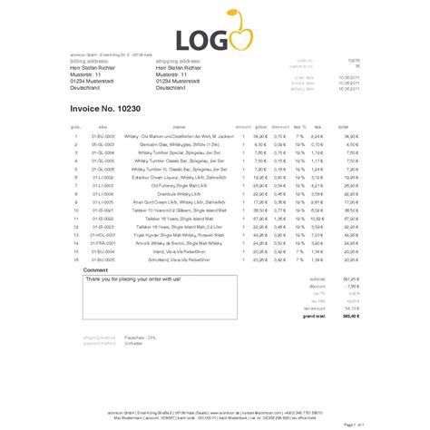 standard invoice englisch rechnungstemplate aromicon agentur