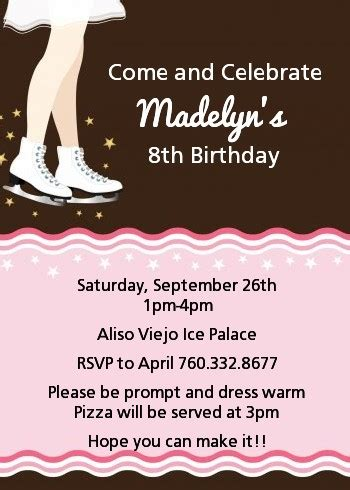 ice skating birthday party invitations candles  favors