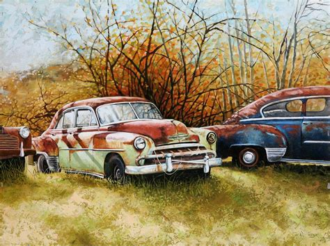 Vintage Cars Painted In Oils. Original