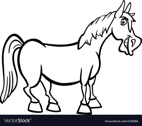 farm horse cartoon  coloring book royalty  vector