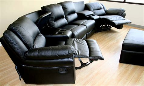 black leather sectional sofa with recliner home theater sectional genuinue black leather recliner