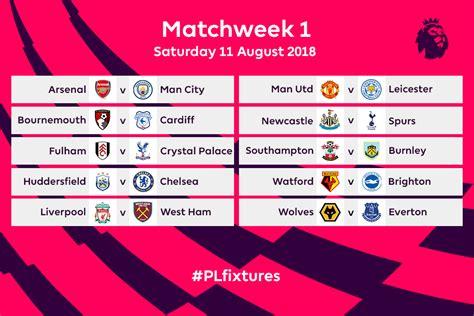 Premier League Fixtures For 201819 Announced