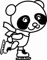Panda Coloring Skating Clipart Clip Pages Drawing Skates Figure Ice Christmas Skate Animals Openclipart Books Characters sketch template