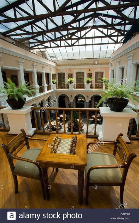 chess set and atrium at hotel patio andaluz quito