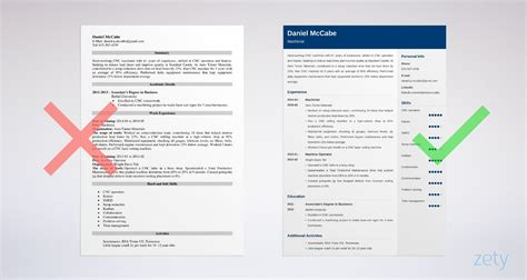 cnc machinist resume samples  machine operators tips