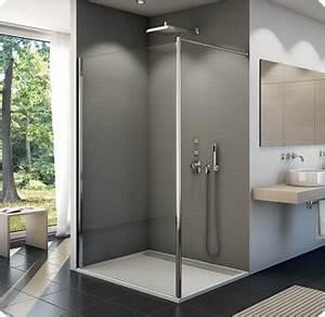 paroi de douche fixe fun2 verre paisseur 6 mm ronal With porte douche ronal