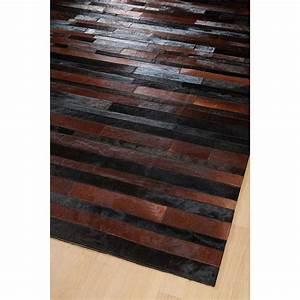 Tapis Cuir Patchwork : tapis jacob patchwork marron et noir home spirit 170x230 ~ Teatrodelosmanantiales.com Idées de Décoration