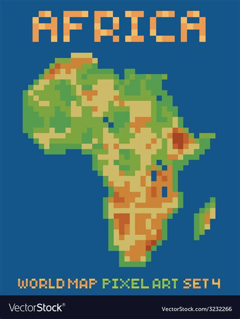 pixel style of africa physical world map vector