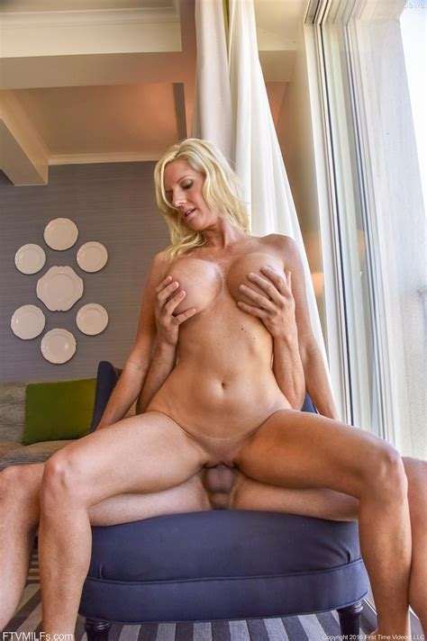 Busty Blonde Cougar Rides Cock