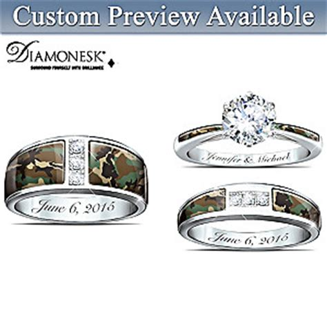 camo his and hers personalized engraved wedding ring