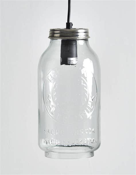 recycled glass horlicks jar pendant light by horsfall
