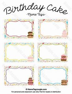 Printable birthday cake name tags for Cake labels template